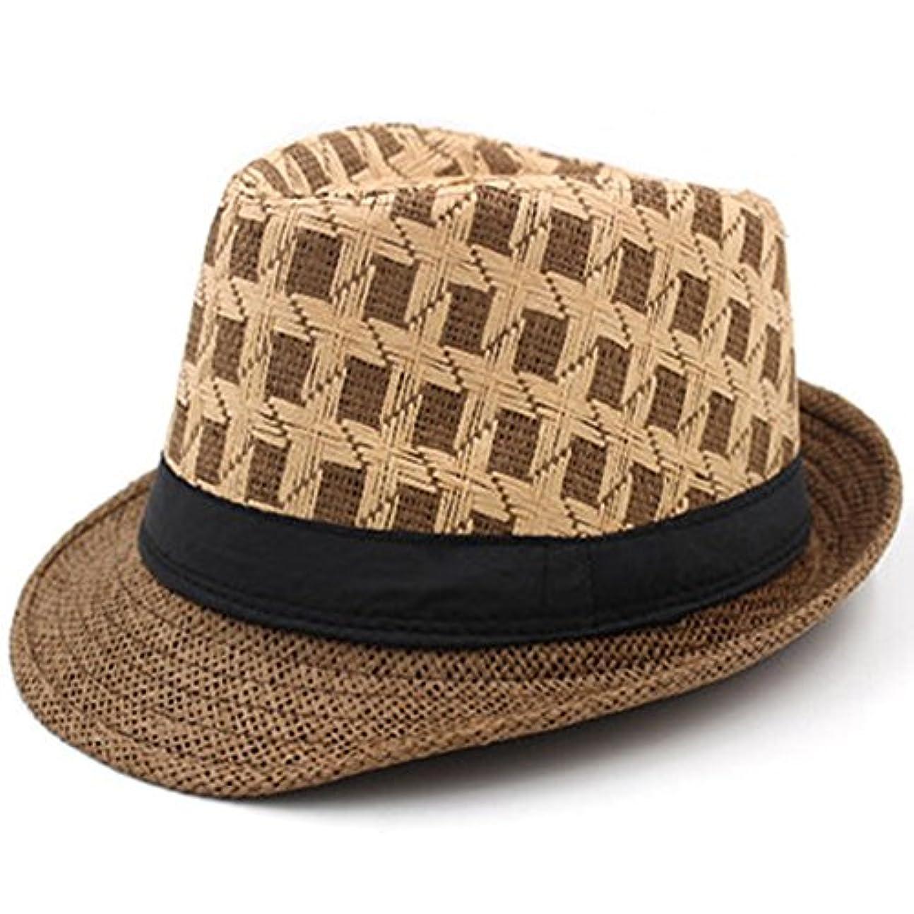 李愛 帽子 春夏の帽子男性と女性のジャズ帽子涼しい通気性の麦わら帽子帽子紳士帽子カジュアルハット (色 : B)