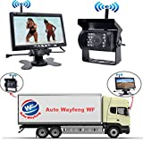 Auto Wayfeng WF® 工場販売 トラック、バス、重機対応 ワイヤレス バックカメラ セット 12/24V ガイドライン表示有り 7インチ 液晶モニター 無線タイプ