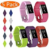 KingAcc Compatible Fitbit Charge 2 Bands, Soft Silicone Band for Fitbit Charge 2, Metal Buckle Fitness Wristband, 3-Pack Spor