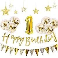 一歳 誕生日 飾り付け 21点 セット - Gehome ゴールド バースデー バルーン 飾り 男の子と女の子用(1歳)