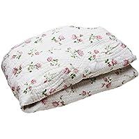 綿100% 水洗い ガーゼ ベッドシーツ ベッドパッド 一体型 小花 ローズ シングルサイズ T434544-A302