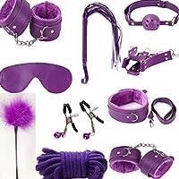 セックスのための拘束、10個BDSMおもちゃレザーぬいぐるみセット拘束キットセックスシングスカップルズ,Purple