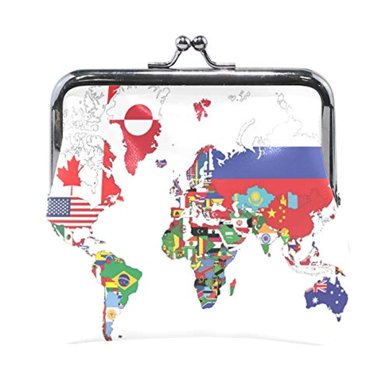 がま口 財布 口金 小銭入れ ポーチ マップ 世界 地図 Jiemeil バッグ かわいい 高級レザー レディース プレゼント ほど良いサイズ