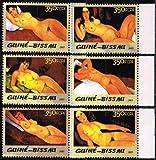 O) モディリアーニの絵 画 ギニアビサオ2005年6種完 裸婦画・ヌード