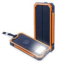 Aedon モバイルバッテリー 15000mAh ソーラーチャージャー 2USB出力ポート 二つの充電方法 6個LED付き iPhone、iPad、iPod、Samsung デバイス、HTCフォン充電ができる、旅行・ハイキングや地震・災害時が必要なもの (オレンジ)