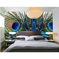 Wuyyii カスタム、美しい孔雀の羽、リビングルームのソファテレビ壁子供寝室の壁紙-250X175Cm