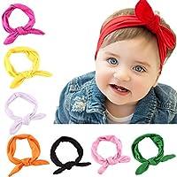 8Pcs かわいい赤ちゃんちょう結び鉢巻き赤ちゃんターバンヘアバンド結び目ウサギの女の子のための子供