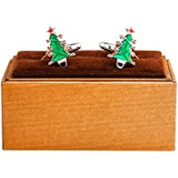 MRCUFF Christmas Tree with Star Pair Cufflinks in Presentation Gift Box & Polishing Cloth