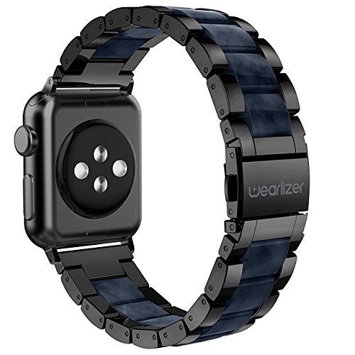 Apple Watch バンド/Apple Watch 4 バンド,Wearlizer アップルウォッチ iwatch,apple watch series 4/3/2/1 交換ベルト アップルウォッチ 4 apple watch 4 バンド iwatch ステンレス バンド 軽量 調整工具付 38mm ブラック