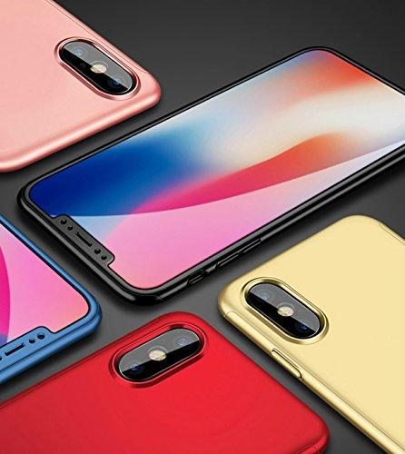 EC-MART iPhone X ケース iPhone10 ケース 全面保護 強化ガラスフィルム iPhoneX ケース iPhone 10 ケース 360度フルカバー 衝撃防止 iPhoneXケース アイフォンX ケース おしゃれ 高級感 薄型 携帯カバー 耐衝撃 (iPhone X, ブラック)