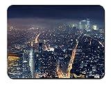 、ニューヨーク、メトロポリス、高層ビル、夜景 パターンカスタムの マウスパッド (22cmx18cm)