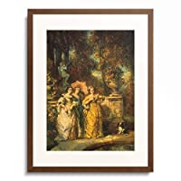 Louis Gabriel Eugene Isabey 「Three ladies in a park. 1852」 額装アート作品