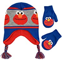 Sesame Street Boys' Toddler Elmo Character Hat and Mittens Cold Weather Set
