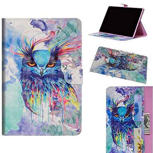 DodoBuy Samsung Galaxy Tab S4 10.5 ケース 3D 手帳型カバー 革 マグネット式ド収納 スタンド機能 財布型 カード収納 おしゃれ フリップ磁気閉鎖 ために Samsung Galaxy Tab S4 10.5 - カラフルなフクロウ