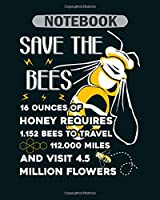Notebook: save the honey bees - 50 sheets, 100 pages - 8 x 10 inches