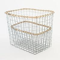 iwi006/b2c ワイヤーボックス S1個&L1個=計2個セット?スチール?| 小物入れ 籠 カゴ かご 収納バスケット 収納カゴ 収納かご ゴミ箱