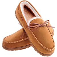 MIXIN Men's Moccasins Slippers Comfy Warm Soft Plush Lining Hard Rubber Sole Slip-on Memory Foam Casual House Indoor Outdoor Driving Shoes