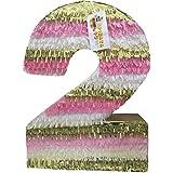 Largeピンクゴールド&ホワイト数2つPinata 24