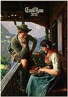 カレンダー 2020 [12 pages 20x30cm] German Pastoral Scenes by Emil Rau Vintage レトロAntique Art 美術館の絵画