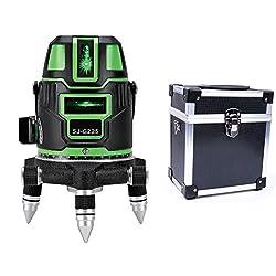 5ライン グリーンレーザー墨出し器SJ-G225 5線6点 回転レーザー線4方向大矩照射モデル【標準セット】