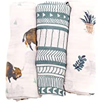 Little Unicorn Cotton Muslin Swaddle Blankets (set Of 3) - Bison Brown Green [並行輸入品]