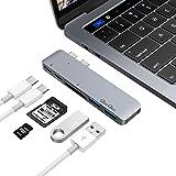 """USBハブ PD効能付きType-cハブ 2016 MacBook Pro 13"""" /15""""用 2*USB 3.0ポート, 1*SD カード&1*Microカードリーダー EgoIggo GN28A(グレー)"""