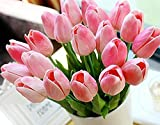 Yidarton 高品質チューリップの造花 手作りブーケ フラワーアレンジ かわいい インテリア飾り 本物みたい ギフト 20本セット 全4色 ピンク