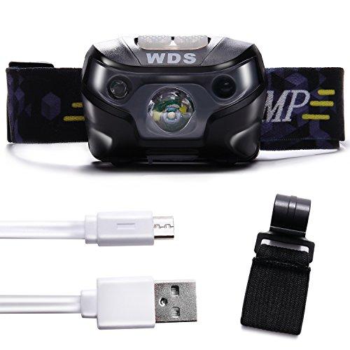 Wild Scene (ワイルドシーン) LED ヘッドライト 200ルーメン 充電式 センサー 機能 ヘルメットホルダー 付属