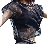 [ブブ オーハナ] tシャツ メッシュ 半袖 ヨガ ダンス スポーツ トップス ゆったり レディース
