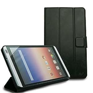 Hy+ dtab d-01g、MediaPad M1 8.0 403HW ビンテージPU ケースカバー (三つ折型スタンドケース) (ブラック・ブルー)