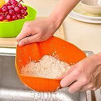 Duang® シリコン バスケット 野菜果物洗い 水切りバスケット 空間節約 携帯便利 キッチン用品 (オレンジ)