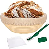 QJW 10 Inch Bread Proofing Basket - Banneton Proofing Basket + Cloth Liner + Dough Scraper + Bread Lame - Sourdough Basket Set for Professional and Home Bakers Artisan Bread Making