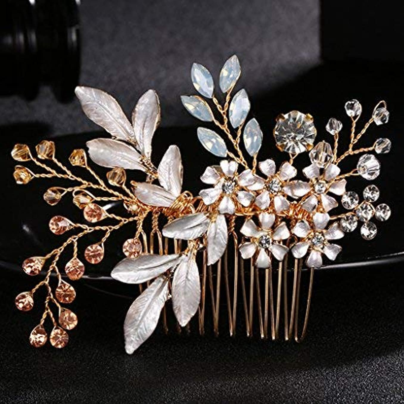 地区学習実際のobqoo Crystal Flowers Style Colorful Leaves Metal Bridal Hair Comb Rose Gold [並行輸入品]