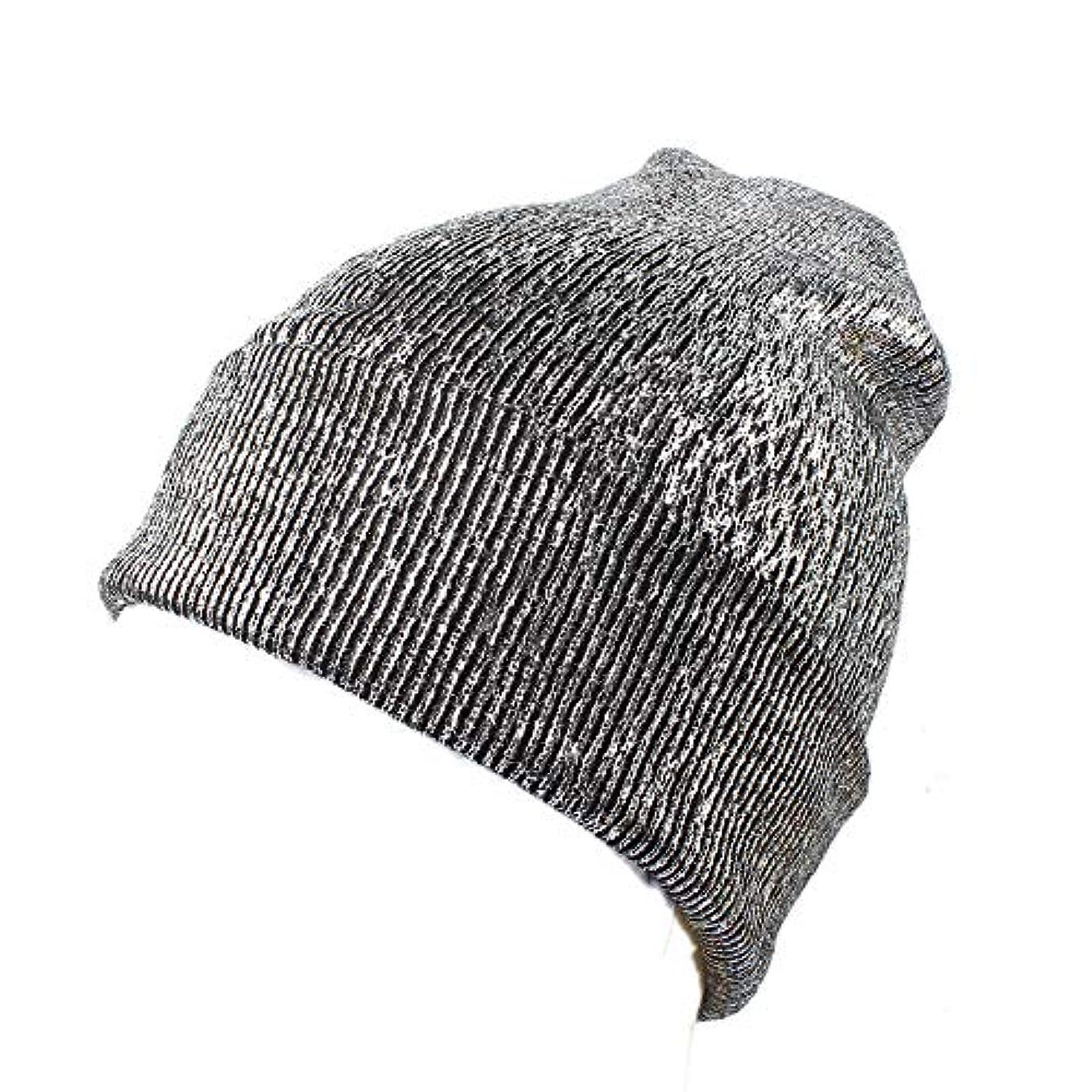 Racazing 選べる3色 クリスマスの冬 ニット帽 耳保護 光沢 ニット帽 チェック ファッション 防寒対策 防風 暖かい 軽量 屋外 スキー 自転車 クリスマス ニット帽 Hat 女性用 (シルバー)