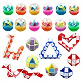 Anditoy 12 Pack Easter Eggs with Mini Snake Cube Inside Puzzle Toys for Kids Girls Boys Easter Basket Stuffers Party Favors