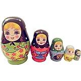 Dolity High Quality 5Pcs Wooden Russian Nesting Doll Babushka Matryoshka Set Hand Painted Toys Gifts
