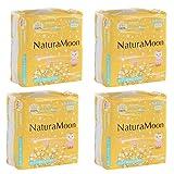 ナチュラムーン (NaturaMoon) 生理用ナプキン 普通の日用 (羽なし) 24個入×4パックセット 高分子吸収剤不使用 ノンポリマー 使い捨て布ナプキン