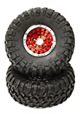 Integy RC Model Hop-ups C24871RED Billet Machined X4 Spoke 2.2 Wheel & Tire Set (2) for Rock Crawler (O.D.=132mm)