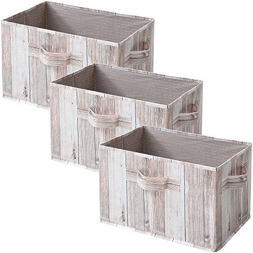 山善(YAMAZEN) どこでも収納ボックス 3個セット カラーボックス対応 ホワイトウッド YTCT-3P(WHW)