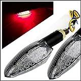 バイク オートバイ 長寿命 LED 汎用 カーボン 調 4色 ブルー レッド イエロー ホワイト ウインカー 左右セット チューニング パーツ ターンランプ イメージチェンジ  ドレスアップ (レッド)