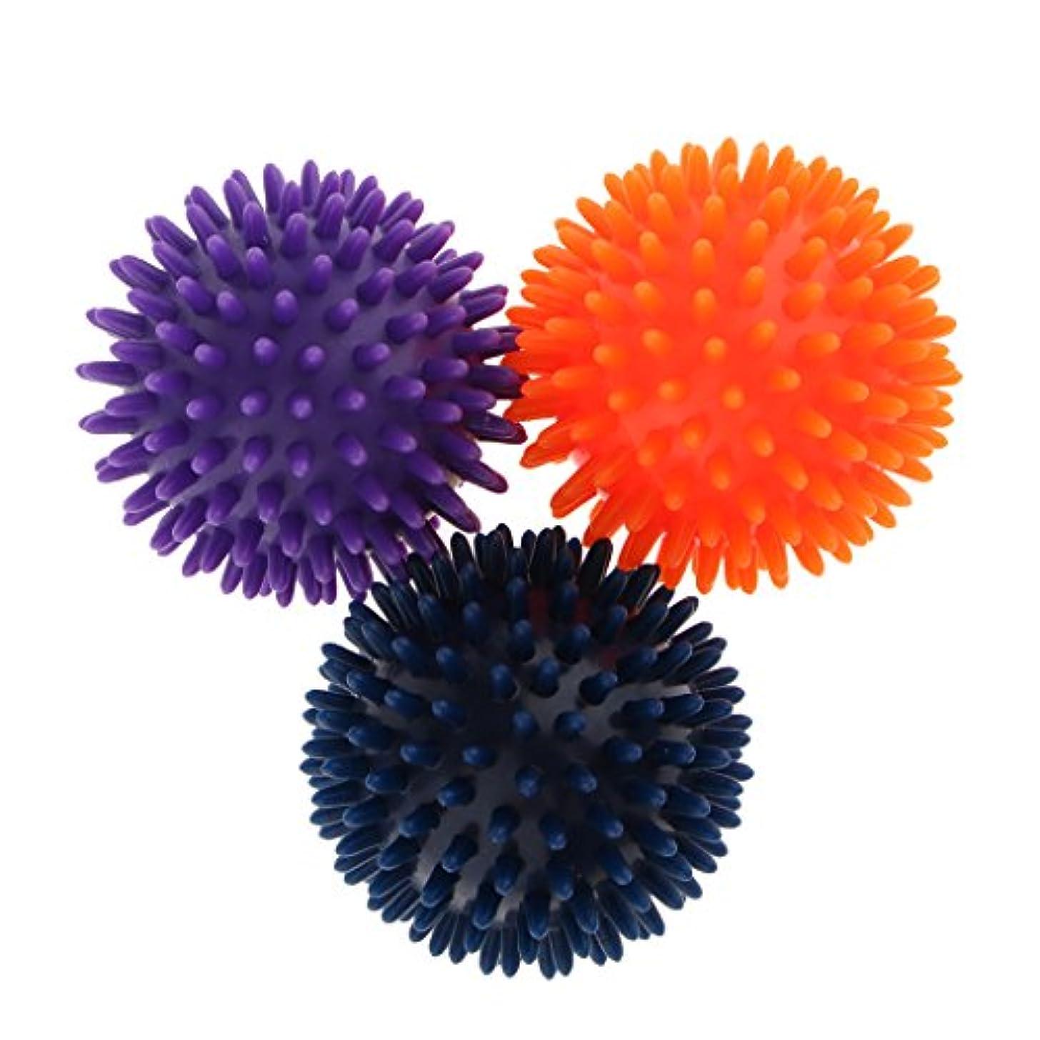 切るボウリングめまいがマッサージボール スパイシー マッサージ ボディトリガー リラックス 3個セット 2タイプ選べ - パープルオレンジブルー, 8cm