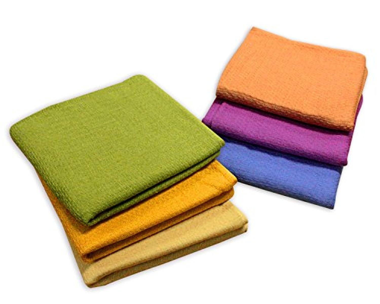 しっかりガーゼタオル 人気の和風渋色6色セット フェイスタオル 6枚入 両面ガーゼ織