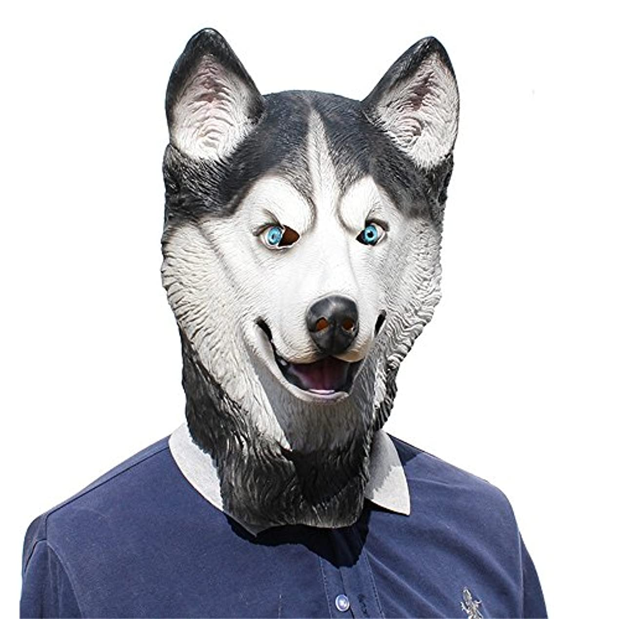 一致するロッカードラムハロウィーンパーティーパーティーTidy COSマスクSnow Leopard犬犬ラテックスマスク (Color : A)