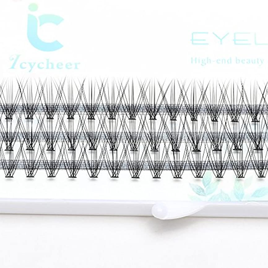 同等の回転軍ICYCHEER 7?13ミリメートル0.10/0.07Cカール厚いソフトメイク個人クラスタまつげつけまつげエクステンション (10mm)