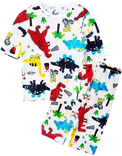 Unifriend 7分袖7分丈 キッズ 男児 綿100% オーガニック ルームウェア パジャマ ねまき 上下セット_ダイナソー_130cm