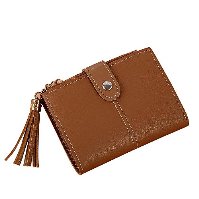 Eldori 二つ折り財布レディース 本革財布 ボックス型 メンズ 小銭入れ 大容量 コインケース Women Simple Short Wallet Tassel Coin Purse Card