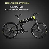 XXCY M8 電動マウンテンバイク 26インチ折り畳み自転車 シマノ21速 350W 48v 12.8ah 内蔵式バッテリー 防犯登録可能 (グリーン)
