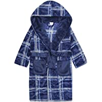 Boys Warm Winter Check Design Fleece Dressing Gown