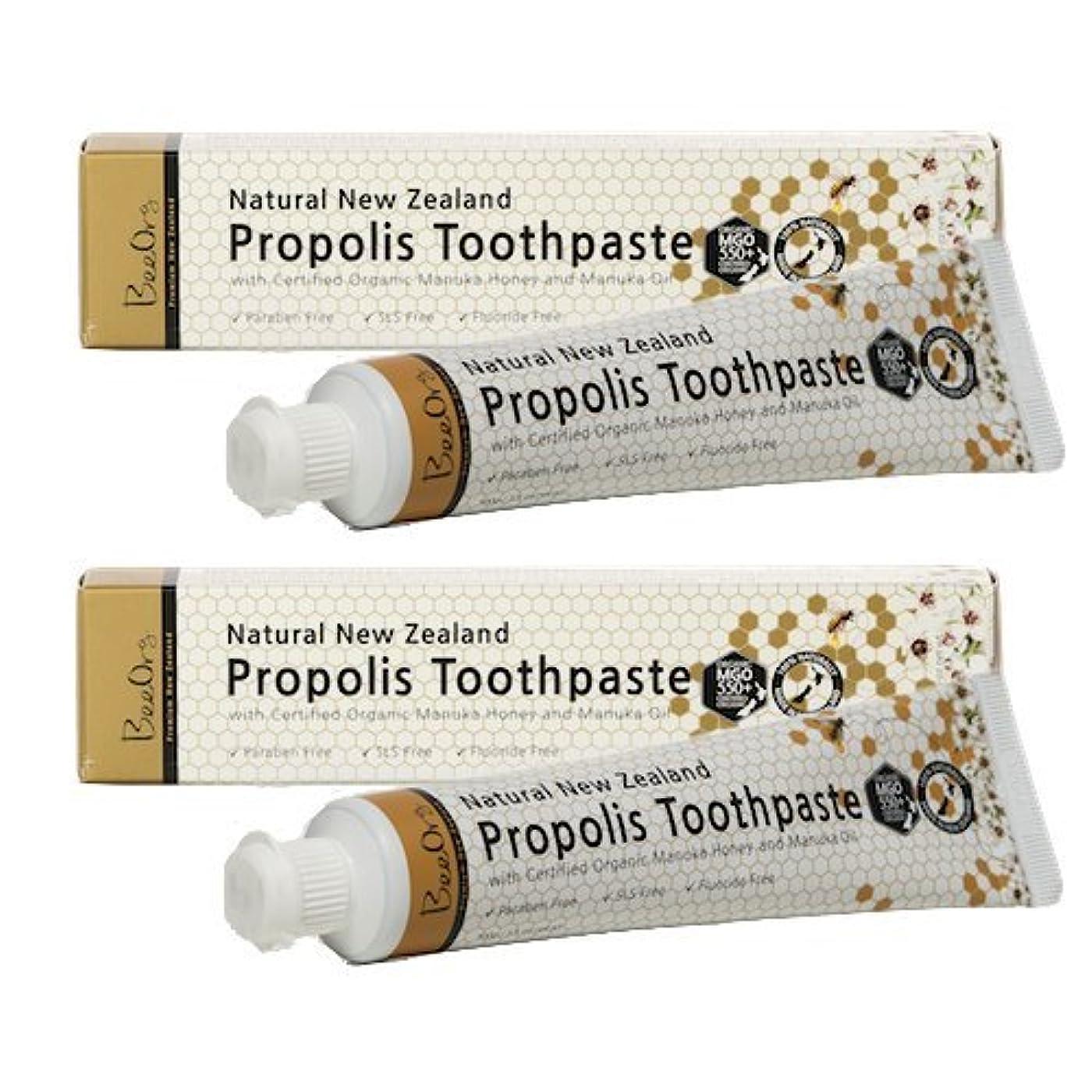 材料地球一回プロポリス&オーガニック認定マヌカハニーwithマヌカオイル歯磨き 2本セット