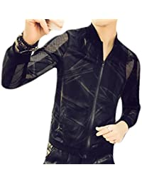 Fly Year-JP Mens Summer Casual Floral Sun Protection See Through Club Lightweight Jackets
